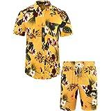MCEDAR Men's Hawaiian Short Sleeve Shirt Suits Aloha Flower Print Suits Casual Button Down Standard Fit Beach Shirts…