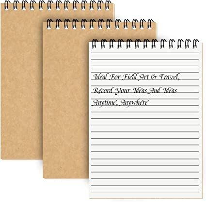 Cuaderno Espiral A5 Forrado, Pack de 3 Bloc de Notas Tapa Blanda Cubierta de Kraft,100 páginas / 50 hojas Libretas, Planificador Perfecto para Viajar (Marrón): Amazon.es: Oficina y papelería