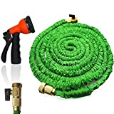 2017 Newest FlatLED Garden Water Hose, Green Collapsible Flexible Expanding Retractable Automatically with Brass Connector and Spray Nozzle (50ft)