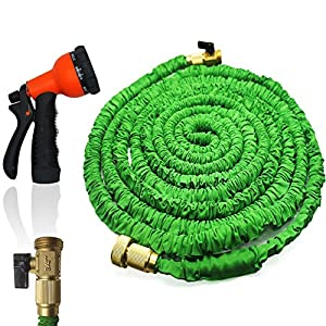 FlatLED Garden Water Hose, Green Collapsible Flexible Expanding Retractable  Automatically With Brass Connector And Spray Nozzle (50ft)