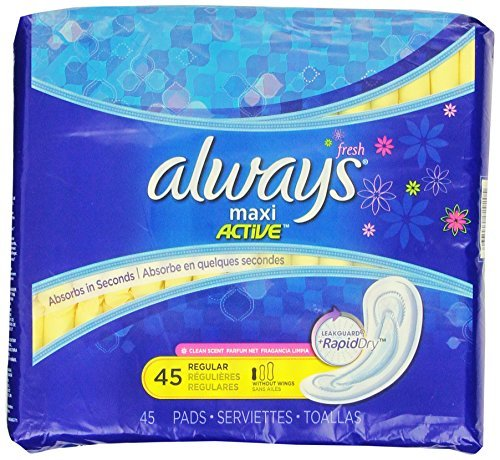 Pads without Wings, Regular Absorbency, 45 Count - Pack of 2 (90 Total Count) ()