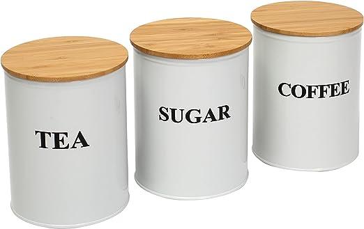 3-Pack Round Kitchen Canisters Set Tea Coffee Sugar Kitchen Tins Storage Set - Wooden Rubber Seal Lids - Countertop Storage Saving - Carbon Steel Safty - White 0824