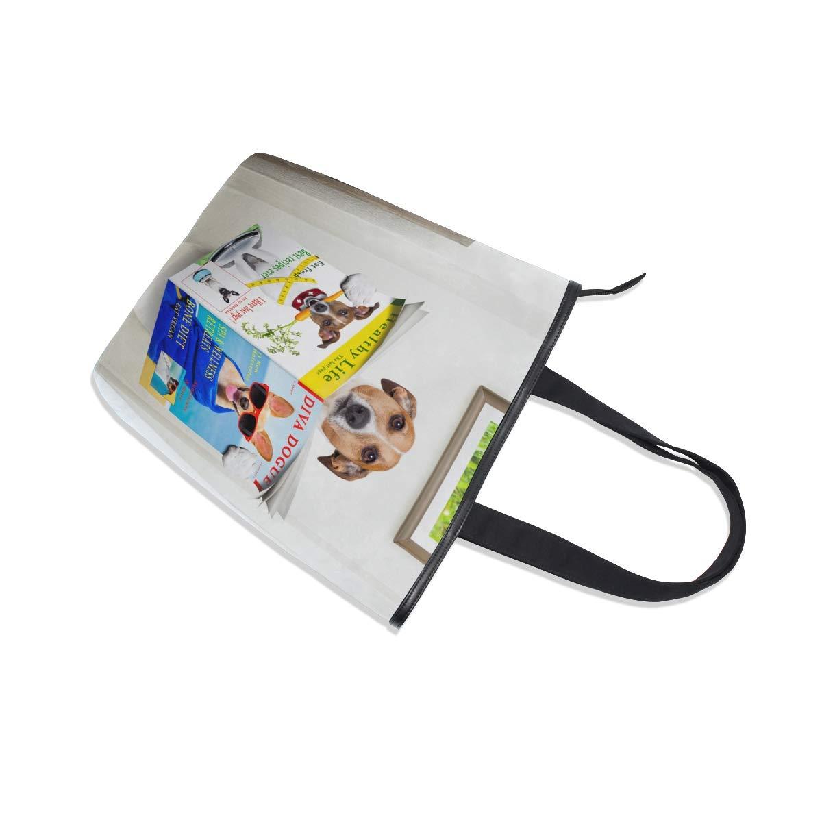 Women Large Tote Top Handle Shoulder Bags Beagle Read Satchel Handbag