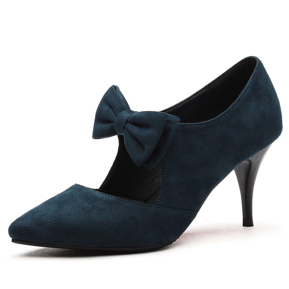 Youxuan Women's Fashion Stiletto Pumps Pointed Toe Suede Ladies Charm Dress Shoes Ocean Blue 7.5M US
