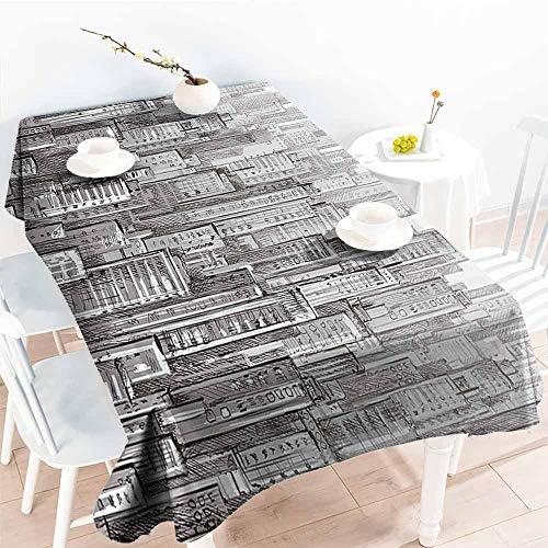 Homrkey Washable Table Cloth Urban City Landscape with Skyscrapers Apartments Downtown Modern Sketch Panorama Artwork Grey White Easy to Clean W54 xL84