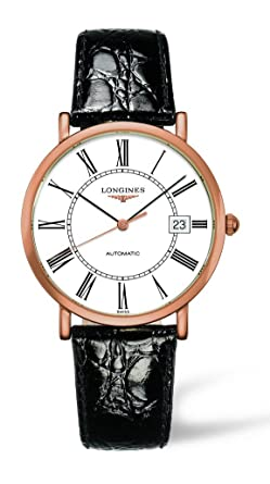 bec78e97834 Image Unavailable. Image not available for. Color: Longines Presence  Automatic 18k Rose Gold Mens Strap Watch White Dial ...