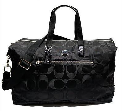 Amazon.com  Coach Signature Black Nylon Travel Weekender Duffle Bag F77469   Shoes 36ff4b0080af4