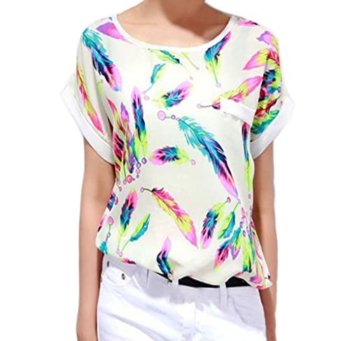 Ularma Moda 1pc mujeres Plumas de gasa blusa Top Casual Loose camiseta de manga corta