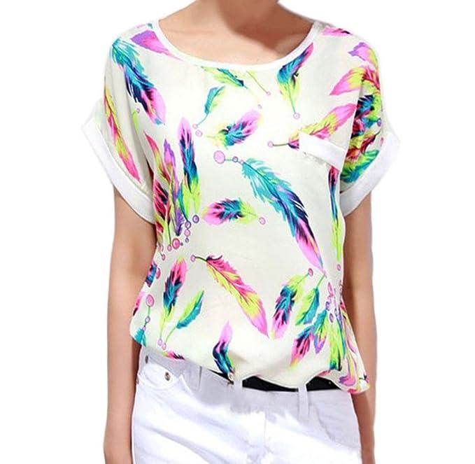 Ularma Moda 1pc Mujeres Plumas de Gasa Blusa Top Casual Loose Camiseta de Manga Corta (