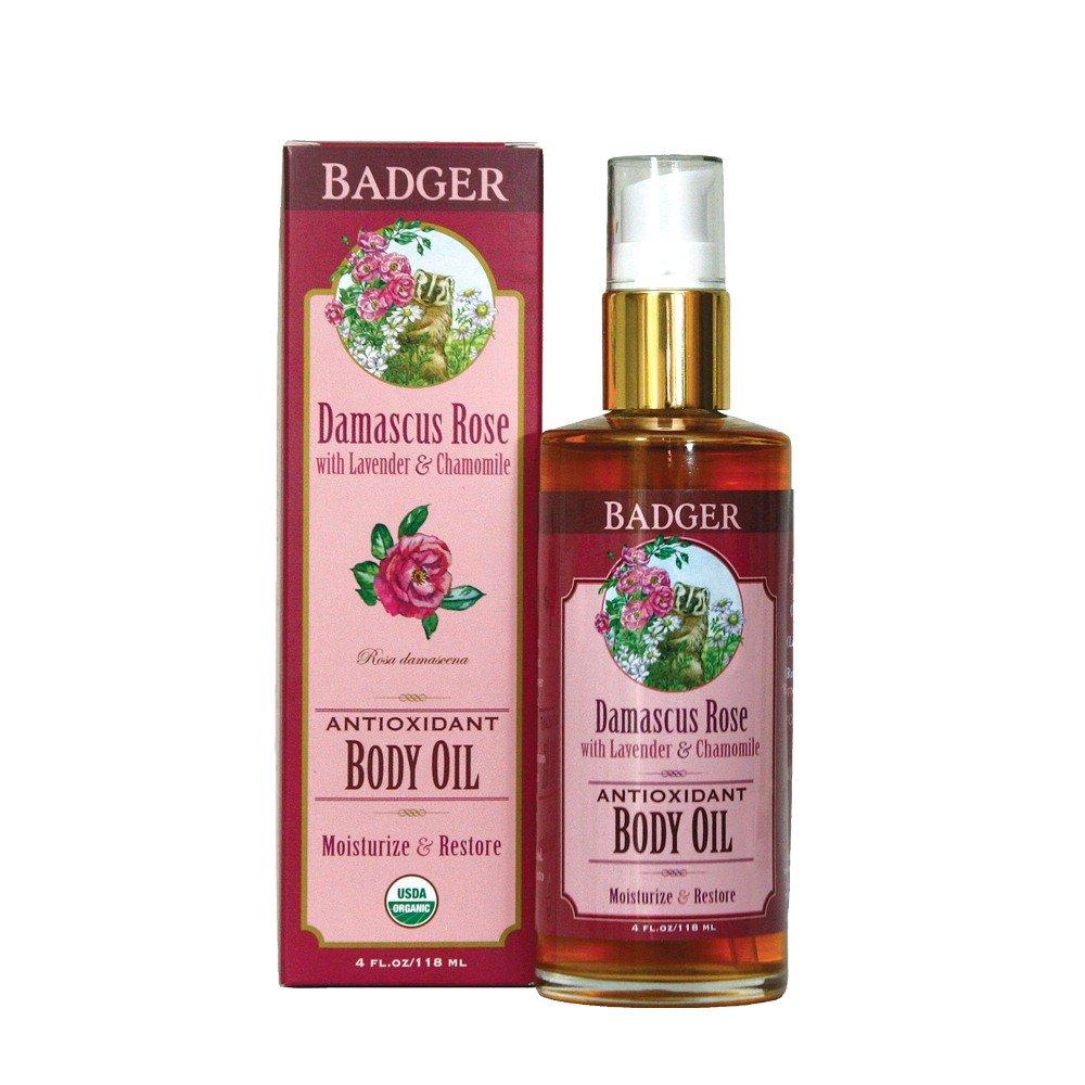 Badger Damascus Rose Antioxidant Body Oil with Lavender & Chamomile, 4 Fl Oz/ 118 ml