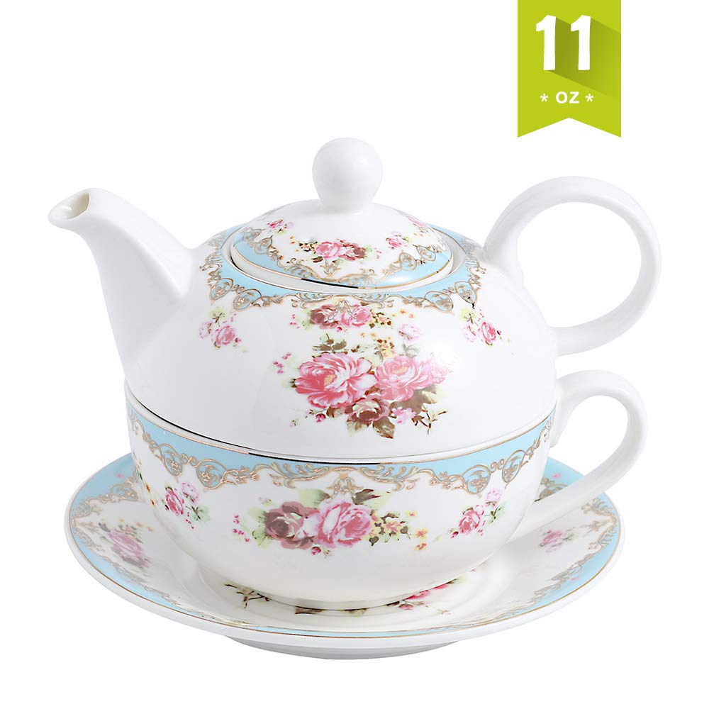 Malacasa Tea for One Set Teapot 11 Ounce and Cup 8.4 Ounce Porcelain Teacup and Saucer Set with Lid and 6 inch Saucer, Blue - Series Sweet Time