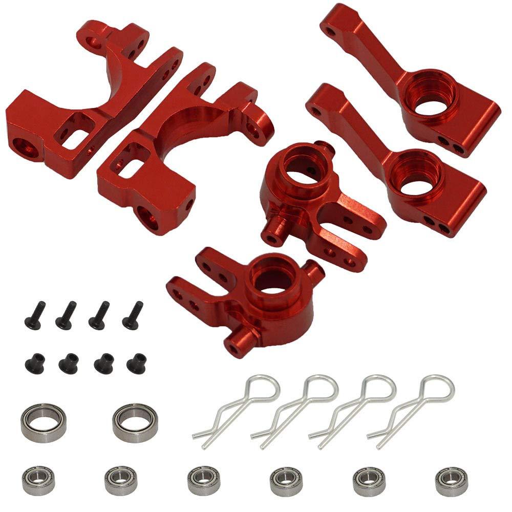 TAKANISHI Red Aluminum Steering Blocks Caster Stub Axle Carriers C-Hubs Ball Bearings for Traxxas 1//10 Slash 4x4 6837X 6832X 1952X