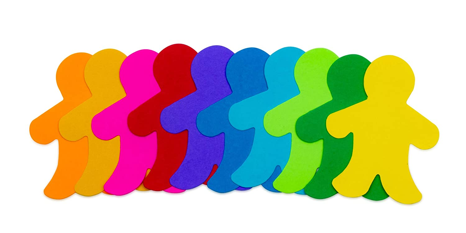 12 Assorted Colors 100 Pcs Card Stock 2 Cut-Out People Pocket Shapes