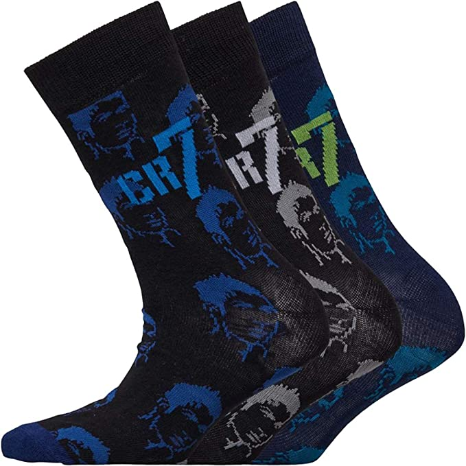 3 Pack Boys CR7 Knitted Logos Cotton Stretch Socks Sizes from 12 to 9