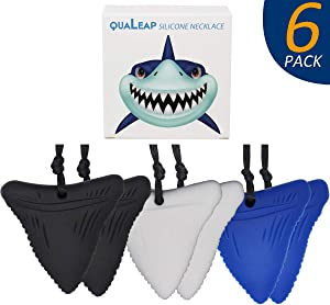 Shark Tooth Sensory Chew Necklace (6 Pack) - Chewing Necklace Teething Necklace Teether Necklace Chew Toys for Kids, Boys or Girls - Teething Toys Designed for Chewing, Autism Sensory Teether Toy