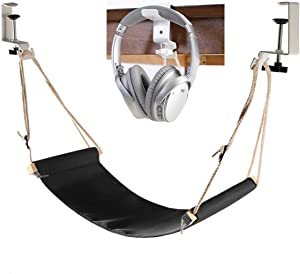 Desk Hammock with Headphone Holder, Auoinge Updated Foot Hammock Portable Durable Foot Rest with Adjustable Screw in Rubber Clamps for Most Desk Not for Curved Edges