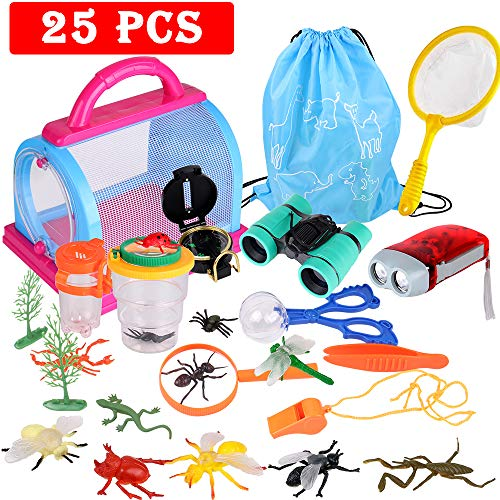 Outdoor Explorer Kit, 25 PCS Nature Exploration Kit  Bug Catcher Kit with Binoculars, Critter Case, Insects, Flashlight, Compass, Magnifying Glass, Outdoor Toys Gift for Boys  Girls Age 3