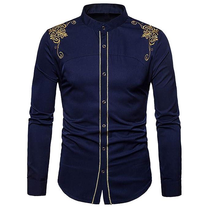 Blusa de Hombre, BaZhaHei, Camisas de Manga Larga Bordada Solapa Casual para Hombre de