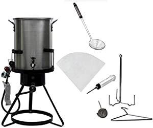 Outdoor Heavy Duty Steel 50,000 BTU Propane 30 Quart Deep Turkey Fryer with Spigot Pot, Plus Injector, Skimmer and Oil Filter