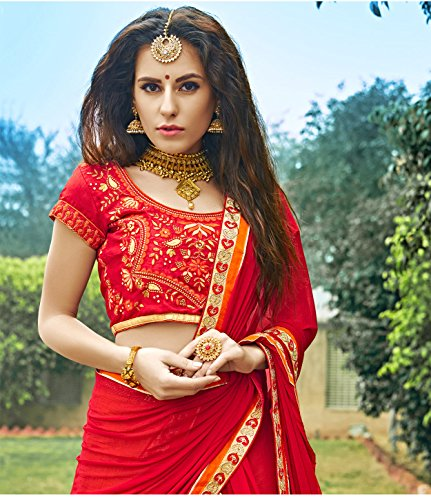 Da Facioun Indian Women Designer Wedding RED AND PEACH Lehenga Choli SS-12004