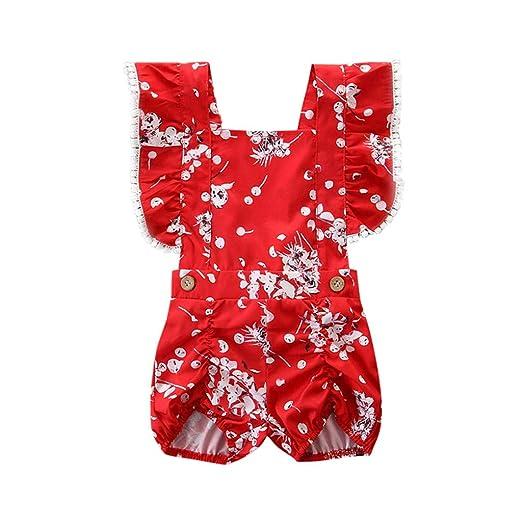 00d7106822c Toddler Kids Baby Girl Flower Print Bandage Romper Playsuit Fly Ruffled Sleeveless  Halter Jumpsuit Red