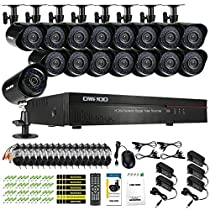 OWSOO 16CH Channel Full CIF 800TVL CCTV Surveillance DVR Security System HDMI P2P Cloud Network Digital Video Recorder + 16 Outdoor/Indoor Infrared Bullet Camera + 1660ft Cable support IR-CUT