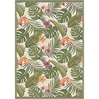 Couristan Dolce Flowering Fern Indoor/Outdoor Area Rug, 23 x 311, Ivory/Hunter Green