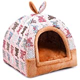 Hanshu 2 In 1 Pet House and Sofa Indoor Soft Warm Washable Igloo Pyramid Cat Dog Beds,(Cute Rabbit, M)