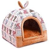 Hanshu 2 In 1 Pet House and Sofa Indoor Soft Warm Washable Igloo Pyramid Cat Dog Beds,(Cute Rabbit, M)