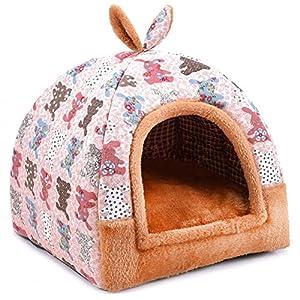 Hanshu – Casa para mascotas 2 en 1, incluye un sofá interior suave y cálido lavable. Cama como forma de iglú para perros y gatos