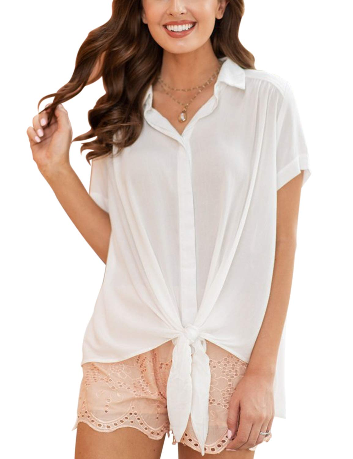 Blooming Jelly Women's Collared Short Sleeve Tie Knot Button Top Shirt Blouse White