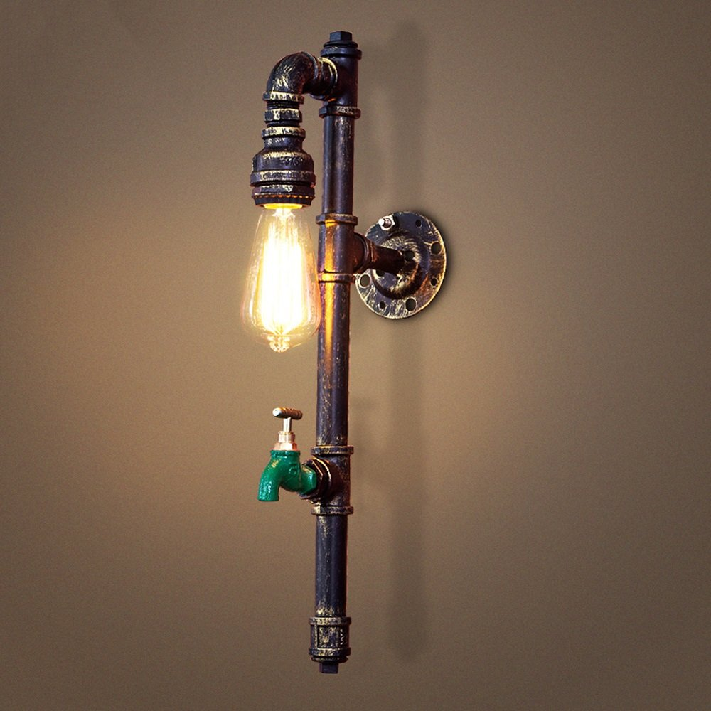 Water pipe wall lamp Retro wall lamp Industrial wall lamp Iron wall lamp E26 bulb1 Bedroom Bar Hotel balcony Basement Garage Height 20.1 Inch 31W-40W (Brass color)