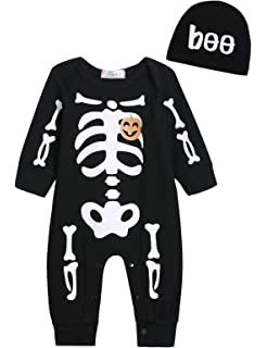 45f854a85c7c7 Singcoco Halloween Baby Boys Girls Skull Skeleton Costume Romper with Hat