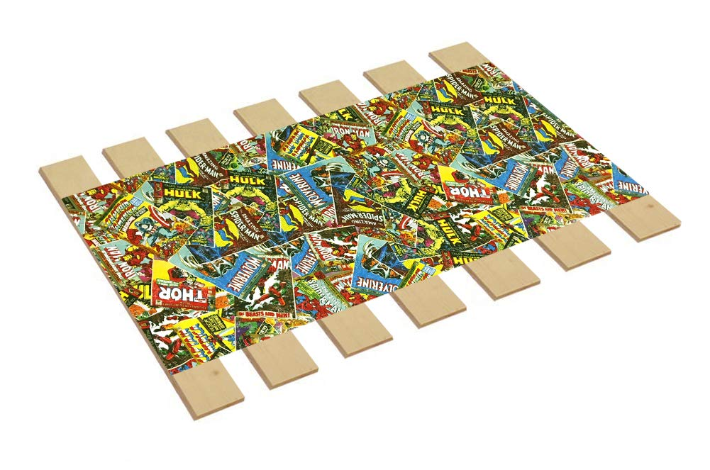 Custom Made in The U.S.A.! Youth/Toddler Size Comic Book Hero Themed Bed Slats Bunky Boards - Cut to The Width of Your Choice (30'' Wide) - Free Box of Crayons with Purchase