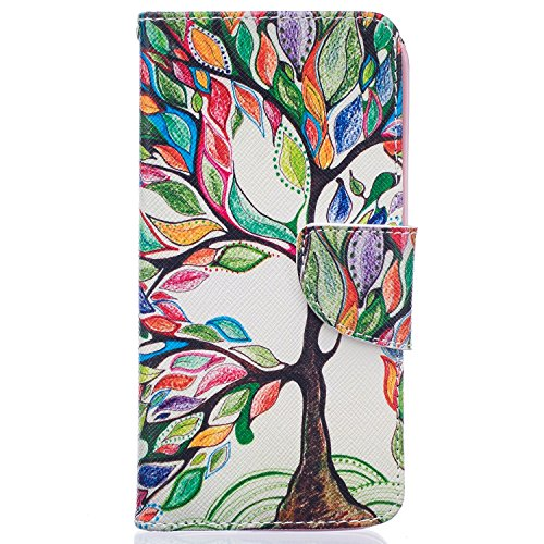 LG K7 Case, LG Tribute 5 Case, LG Escape 3 / LG Phoenix 2 / LG K8 Case, Easytop Slim Fit Stand PU Leather Wallet Folio Flip Cover Case with Card Slot Cash Pocket Magnetic Closure (Colorful Big Tree)