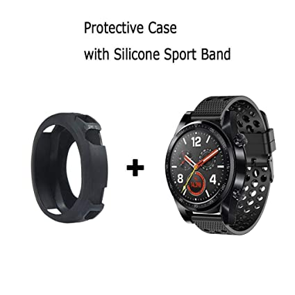 for Huawei Watch GT Band with Case, Silicone Protective Case Cover with Silicone Sport Band for Huawei Watch GT Smartwatch (Black case with Black ...