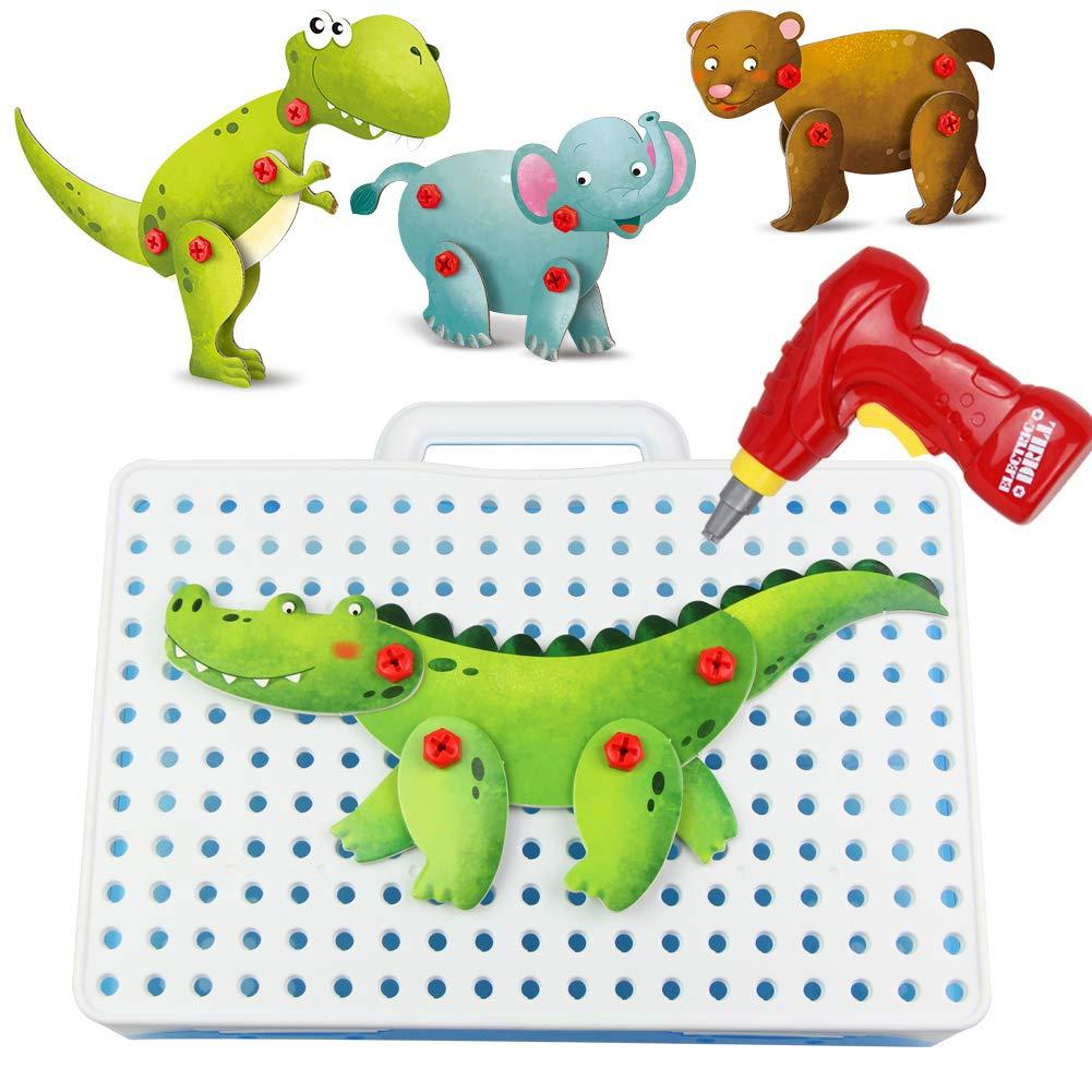 Spielzeug Bauen mit Akkuschrauber Kinder 8 Tiere 3D Puzzle Kreatives Mosaik Steckspiele Spielzeug Geschenk für Kinder Mädchen Jungen BOHUI TOYS FACTORY