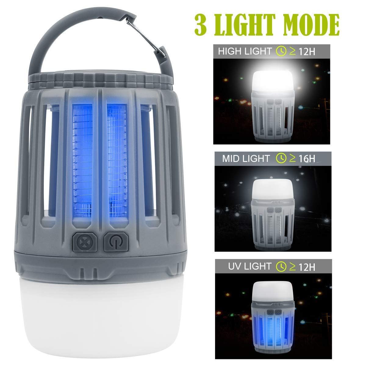 IREGRO Bug Zapper Mosquito Killer Lamp 2 in 1 LED Camping Lantern UV Insect Trap Portable Mosquito Zapper Tent Light USB Rechargeable For Camping Outdoor Indoor Hiking Fishing