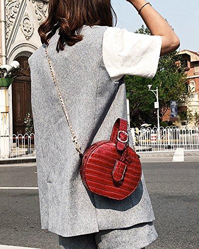 Pu Rojo Cuero La Bolsa Bolso Mini Crossbody Del Con De De Hombro Mano Cadena Mujer Redondo Bandolera Rojo Bolso wUCqYY