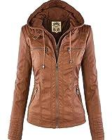 Tisatee-JP 秋と冬 レディーファッションレザージャケット フードパーツは着脱可能 長袖チャック付けレディーレザージャケット