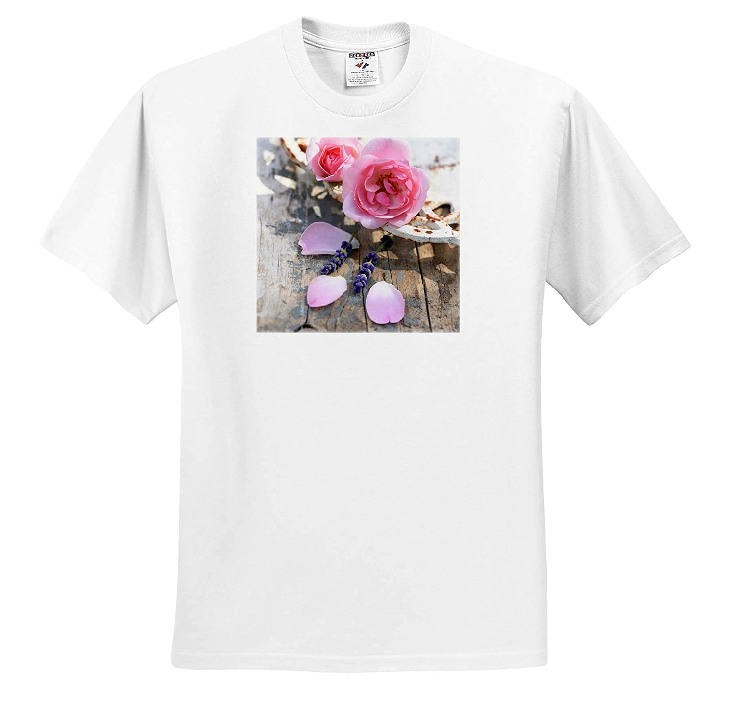 Romantic Pink Vintage Roses and Leaves in an Old Bowl On Rustic Wood 3dRose Uta Naumann Photography Stilllife T-Shirts
