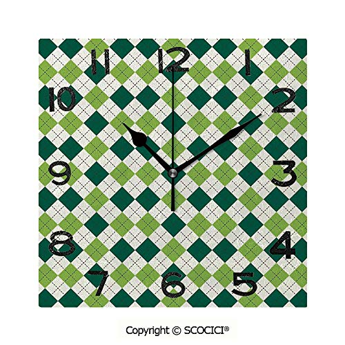 SCOCICI Frameless Clock 3D DIY Decorative Clock Classical Diamond Line Pattern with Dotted Lines Vintage Design 8 Inch Large Size Square Wall Clock for Living Room Bedroom Office Hotel