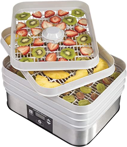 Hamilton Beach 32100A Digital Food Dehydrator, 5 Trays, Gray - 48 Hour Timer