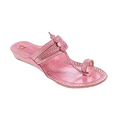 42f119cd2990 Image Unavailable. Image not available for. Color  KOLHAPURI CHAPPAL  original Good-looking baby pink ...
