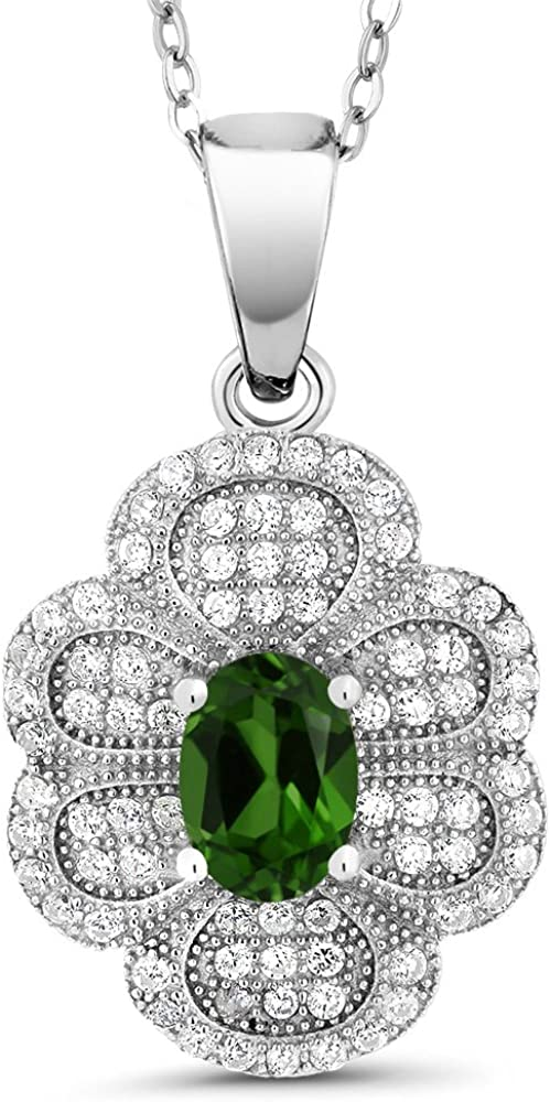 Gem Stone King 1.62 Ct Oval Green Chrome Diopside 925 Sterling Silver Pendant
