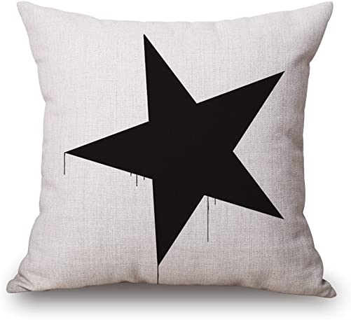 Happy Cool Cotton Linen Square Black White Style Decorative Throw Pillow Cushion Cover with Brushed Insert 18 x 18 Pattern 3