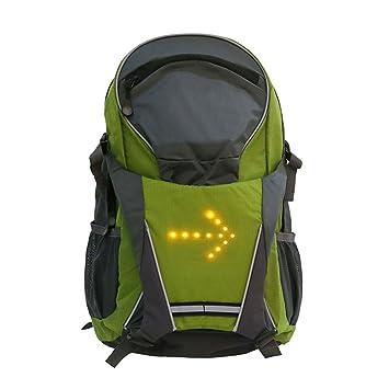 lennonsi 18L bicicleta hombro Mochila con indicador de señal LED, LED inalámbrica mando a distancia Seguridad Intermitente Luz Mochila verde: Amazon.es: ...