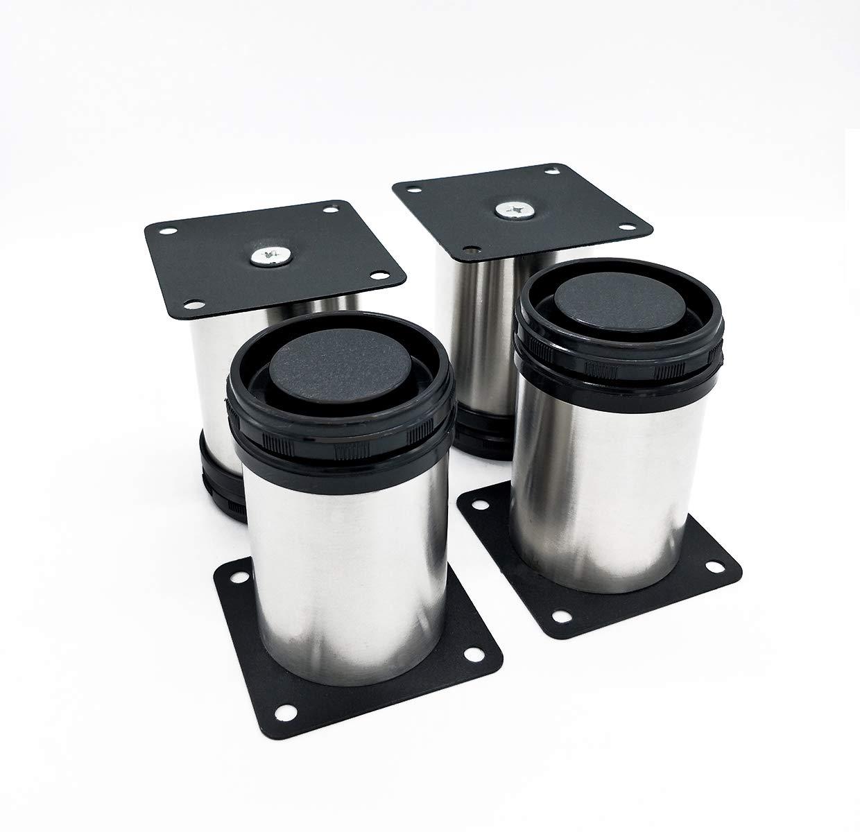4x Qrity 650mm de hauteur r/églable en acier inoxydable Cabinet Bureau Canap/é Table basse TV Buffet /à d/éjeuner Pieds Jambes de meubles
