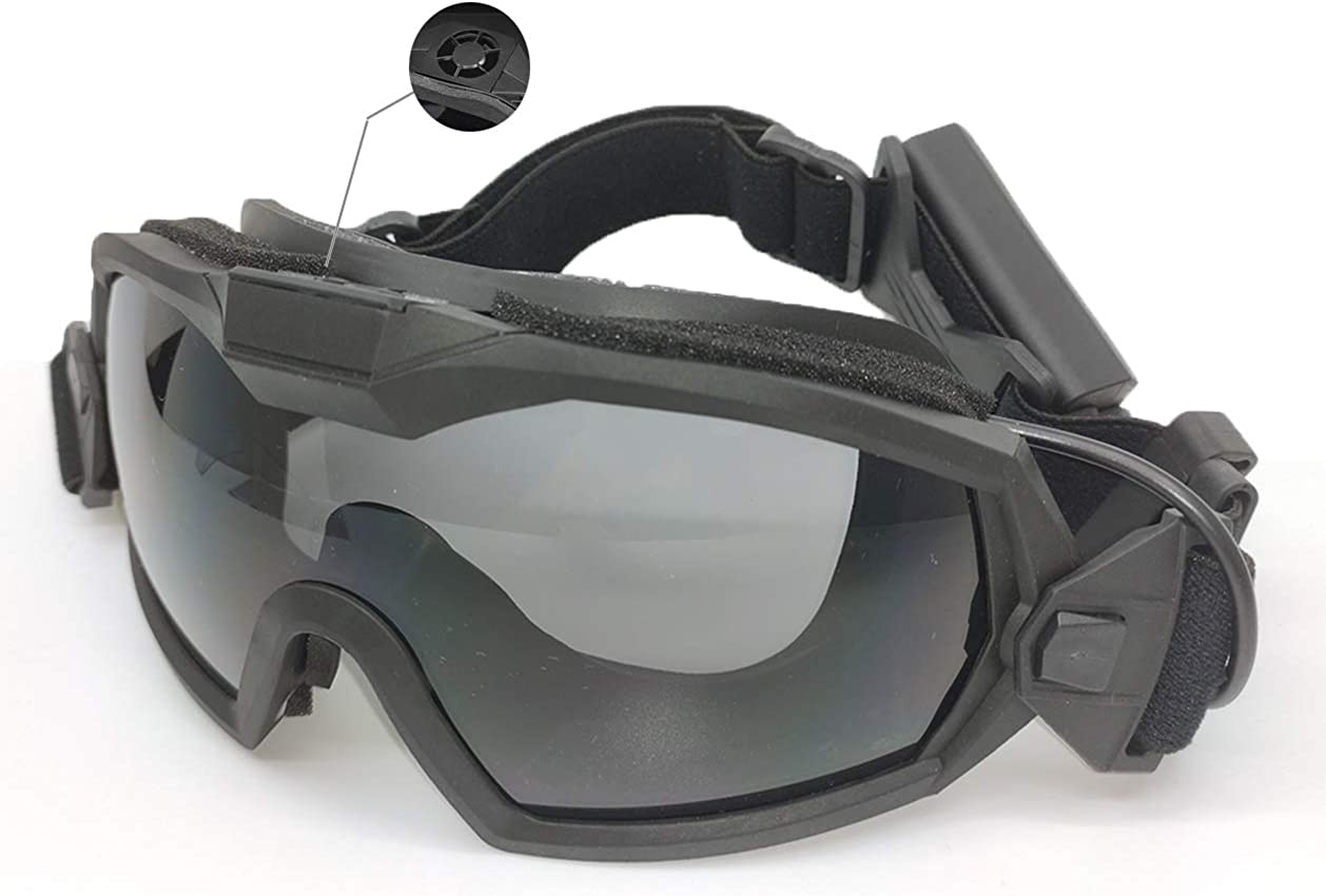 PAIRSOFTWIN Airsoft Tactical Goggles with Fan Anti Fog and 2 Lens