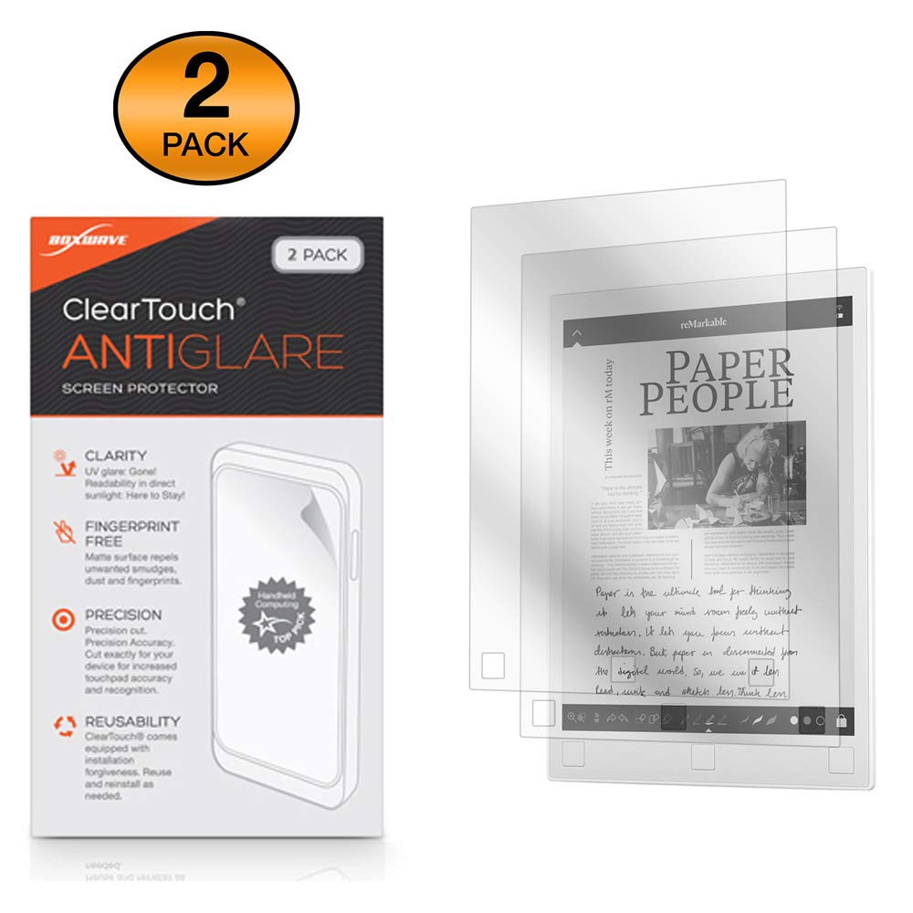Remarkable Paper Tablet Screen Protector, BoxWave [ClearTouch Anti-Glare (2-Pack)] Anti-Fingerprint Matte Film Skin for Remarkable Paper Tablet